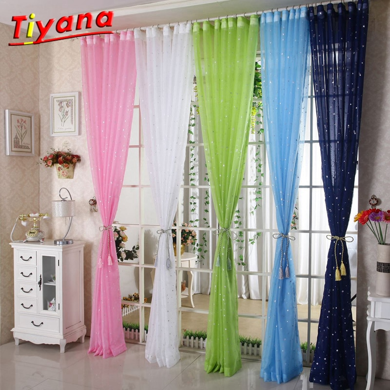 Ventana de proyección de gasa estrella rosa azul verde tul cortina moderna de moda tul sofisticado sala de estar gran oferta habitación de los niños WP234 * 20