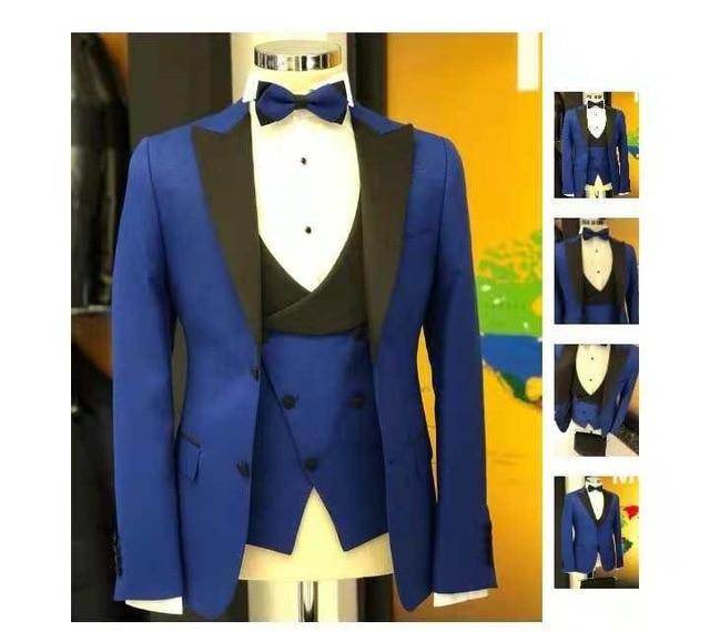 Handsome Two Buttons Groomsmen Peak Lapel Groom Tuxedos Men Suits Wedding/Prom Best Man Blazer ( Jacket+Pants+Tie+Vest) A170