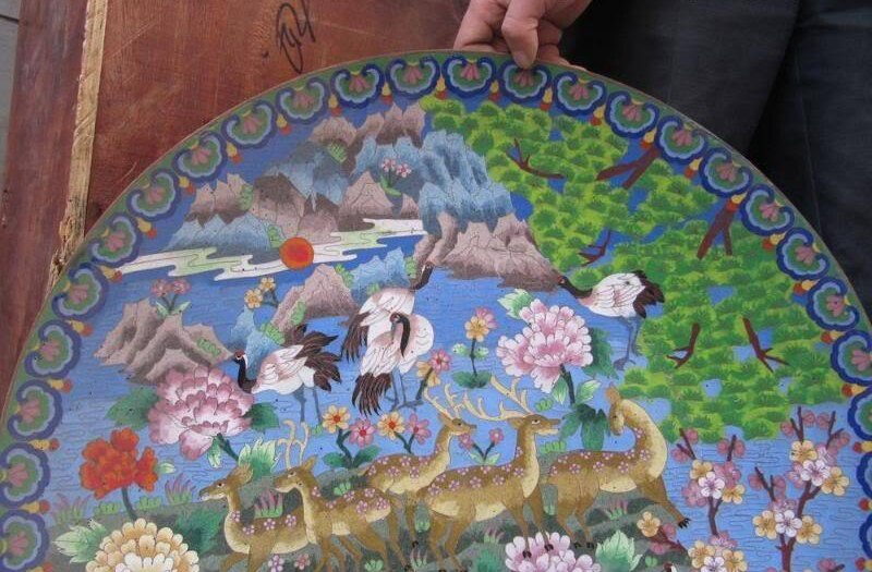 Tíbet Cobre Bronce cloisonne royal court Coronado grúa ciervos manchados Placa 8.02