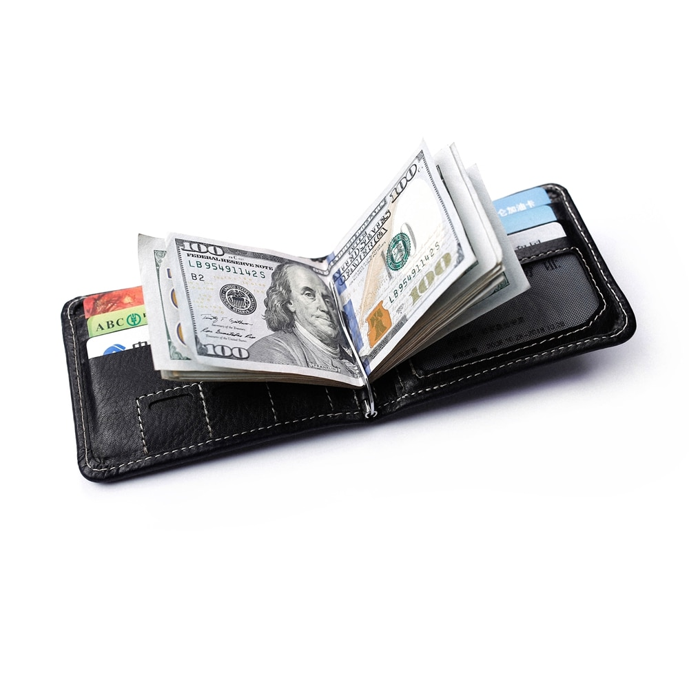 Купить с кэшбэком Genuine Leather Men Wallet with Spring Money Clip Handmade Bifold Short Wallet with Coin Pocket Men's Money Clip Wallet