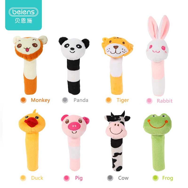 Sonajero para bebé lindo palo BB juguetes para niños diferentes animales sonajero de barra juguete de peluche para niños enviar el Color al azar