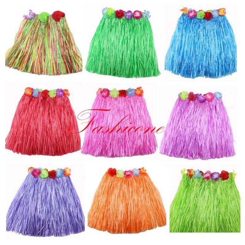 Vestido de fantasía Hawaiano hierba hula falda Lei flor accesorios niños disfraz 40cm longitud fiesta Favor
