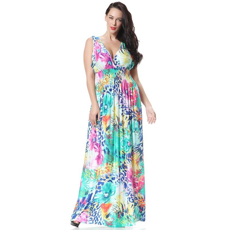 Vestido de verano para mujeres de Europa Sexy cuello pico sin mangas con estampado floral vestidos Bohamian largo Maxi Vestido de playa con escote en la espalda vestido