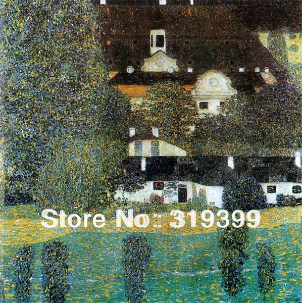 Gustav Klimt  Oil Painting on Linen Canvas,Schloss Kammer on Lake Attersee II,Free fast shipping,Museum quality,Handmade