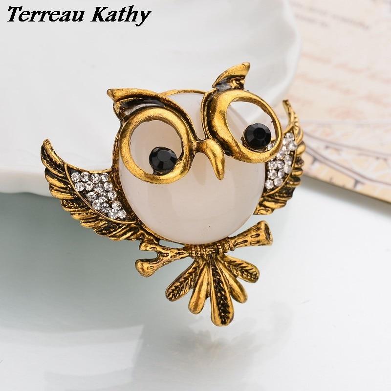 Terreau Kathy tiroteo Real Chapado en bronce Vintage joyas bohemias 4 colores de diamantes de imitación de búho 2016 mujeres broches pines