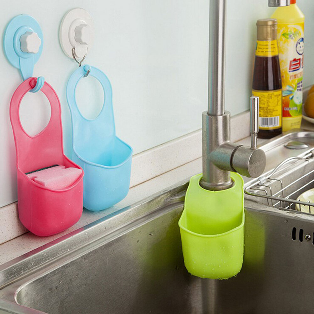 Cesta colgante de almacenamiento para cocina, estantería para fregadero de cocina, estante para paños y platos, soporte de drenaje colgante de esponja de succión, estante de almacenamiento
