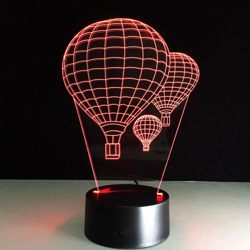 7 colores globo de aire caliente acrílico 3D Stereo Vision lámparas pequeñas led luz nocturna táctil iluminación 083