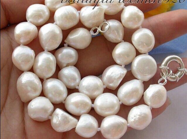 "Joyería 005406 17 ""15 MM barroco blanco de agua dulce collar de perlas silve"
