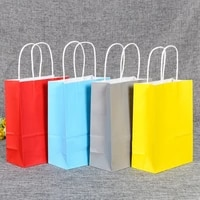 10 colors square kraft paper gift bag eco friendly beautiful wedding party bags recyclable