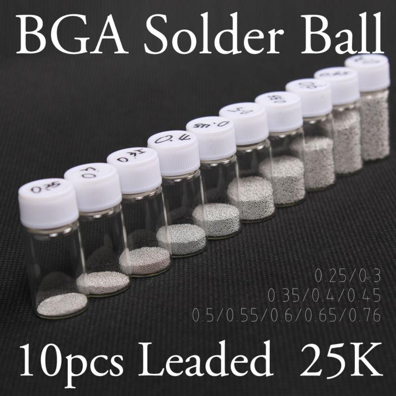 10PCS/Lot BGA Reballing Balls (0.25 0.3 0.35 0.4 0.45 0.5 0.55 0.6 0.65 0.76) BGA Solder Ball Kit, Free Shipping