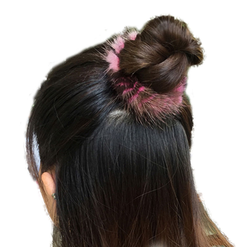 Las mujeres de moda elástico bandas para el cabello lazos con piel de visón cintas accesorio Real de piel de Clips de pelo de cola de caballo titular para las niñas