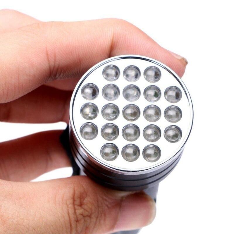 Novo 21 led uv 395nm ultra violeta tocha de inspeção blacklight lâmpada luz portátil ao ar livre