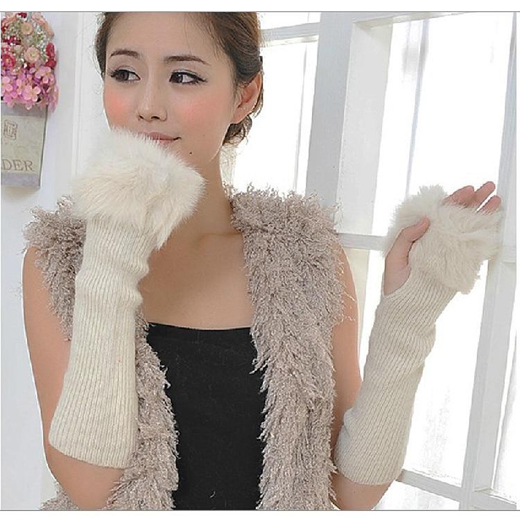 2016 New Fashion Women's Black Autumn Winter Warm Rabbit Fur Mittens Hottest Casual Glove For Women Drive gloves