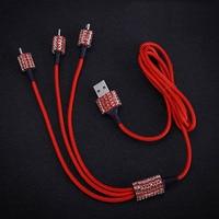 USB-кабель 3 в 1 Diamond Crystal для iPhone, зарядный кабель для передачи данных, кабель Type-C Micro USB для Samsung, Xiaomi, провод