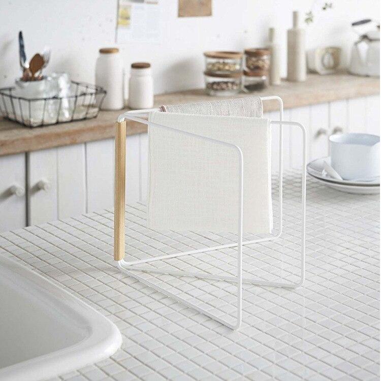 Estilo japonês de madeira ferro dobrável rack armazenamento pendurado titular toalha prateleira casa organizador do banheiro cozinha acessories para mop
