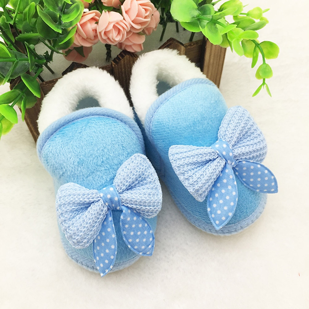 Zapatos para niño pequeño, Infante, recién nacido, niña, con lazo, Botas de suela blanda, zapatillas de deporte para antes de comenzar a andar, zapatos