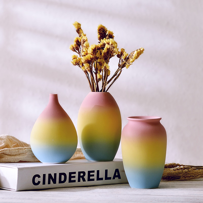 Miniflorero creativo de cerámica de arco iris para decoración de sala de estar, recipiente para flores secas frescas, miniaturas de jardín de hadas, decoración del hogar