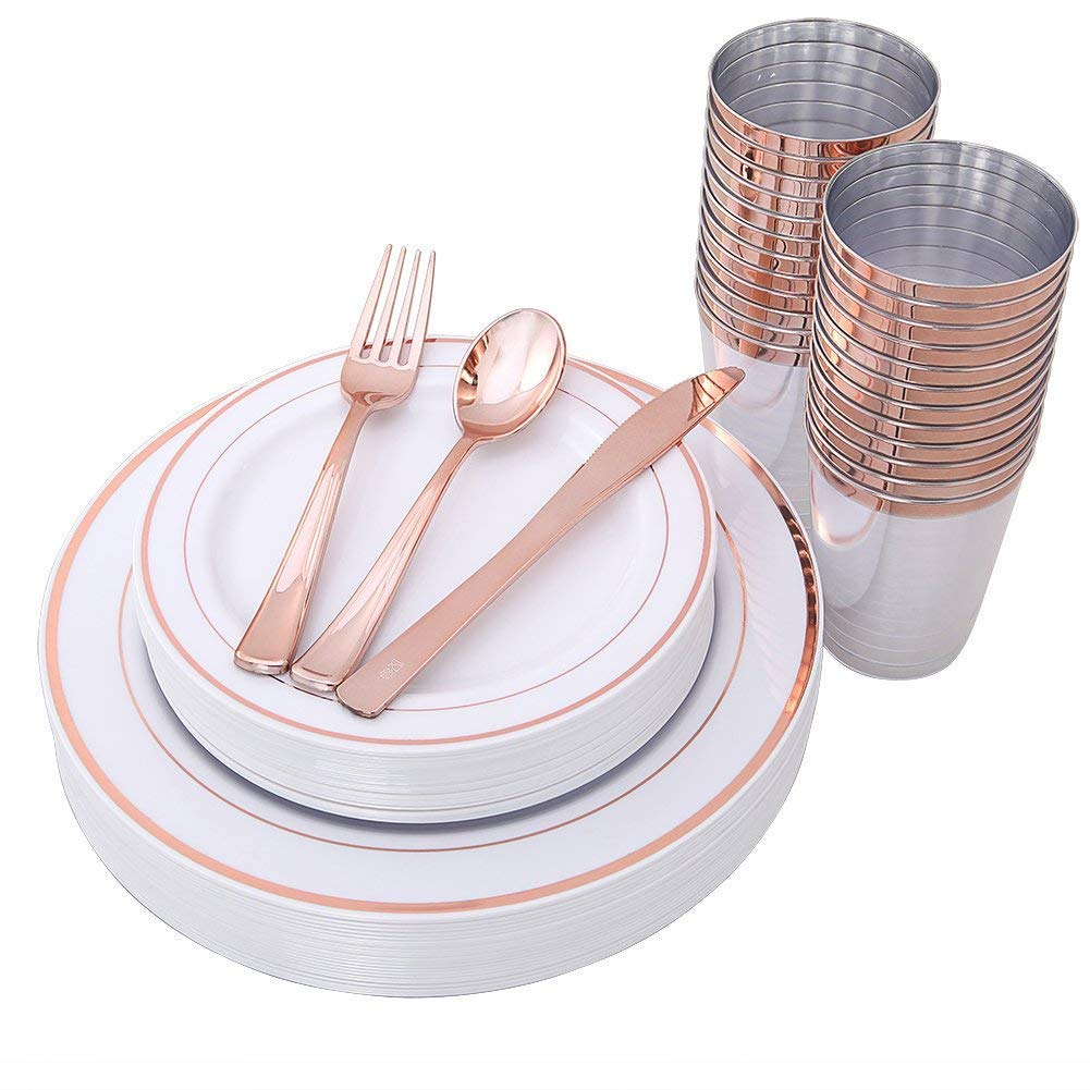 Rose Gold Plates and Rose Gold Cups with Plastic Dinnerware, Top Disposable Dinnerware Set for 25 Guest-Total 150pcs