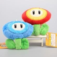 "2 Pcs/Set Super Mario Bros Plush Toys Ice & Fire Flower Cute Small Pendant Stuffed Doll 4"" 10 CM"