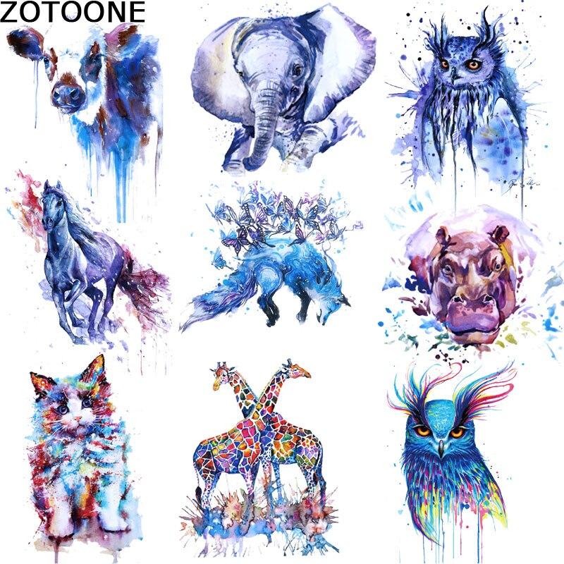 Виниловые наклейки для одежды с мультяшными животными, накладки с изображением жирафа, волка, совы, утюги для самостоятельной передачи тепла