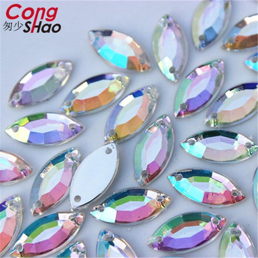 Cong Shao 100 Uds 6*12/7*15mm Marquesa Shine Crystal AB Color plata base para coser estrás par coser botones ropa WC226