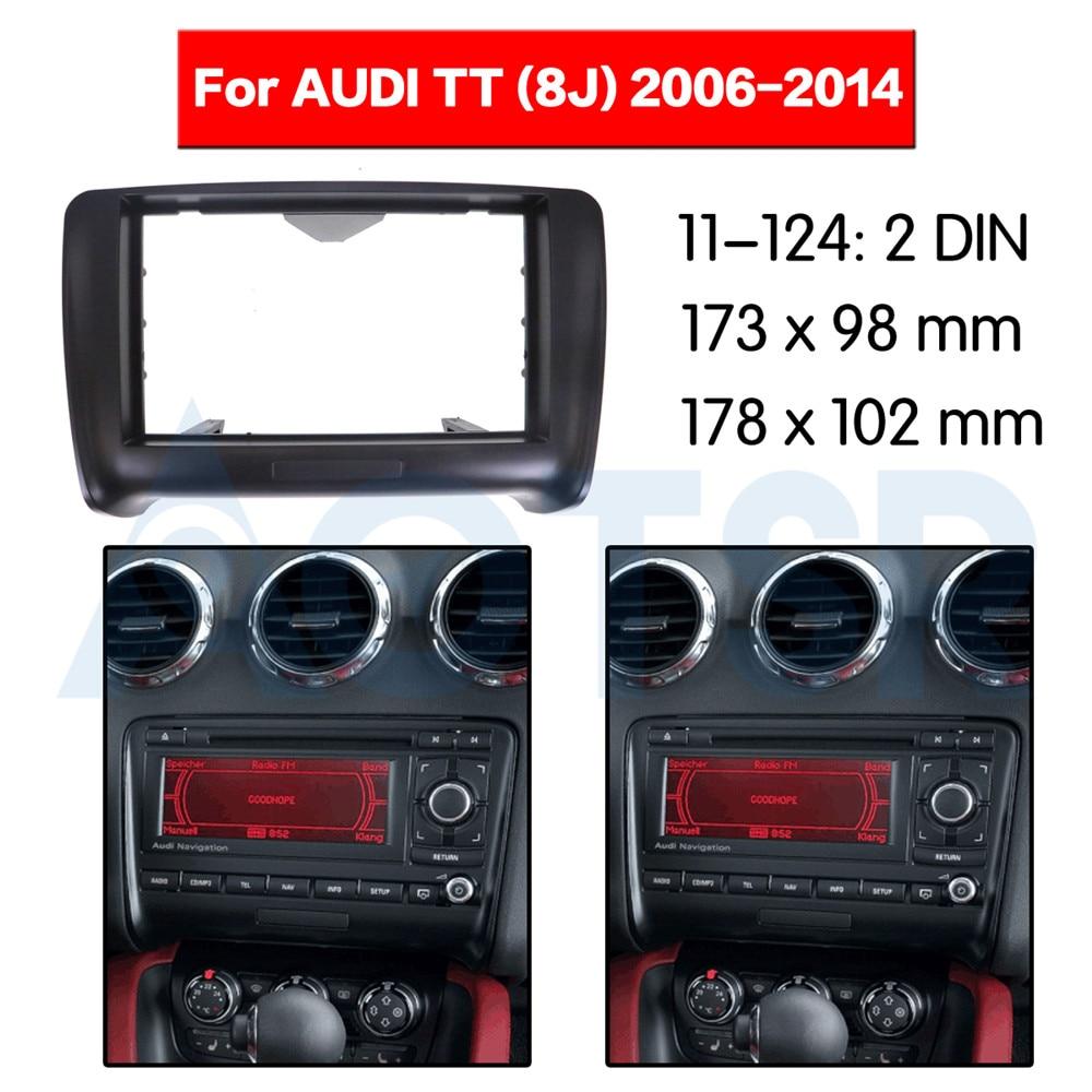 2 din Radio Fascia para AUDI TT (8J) 2006-2014 panel de audio estéreo Instalación en Dash Kit de adaptador de CD DVD ABS