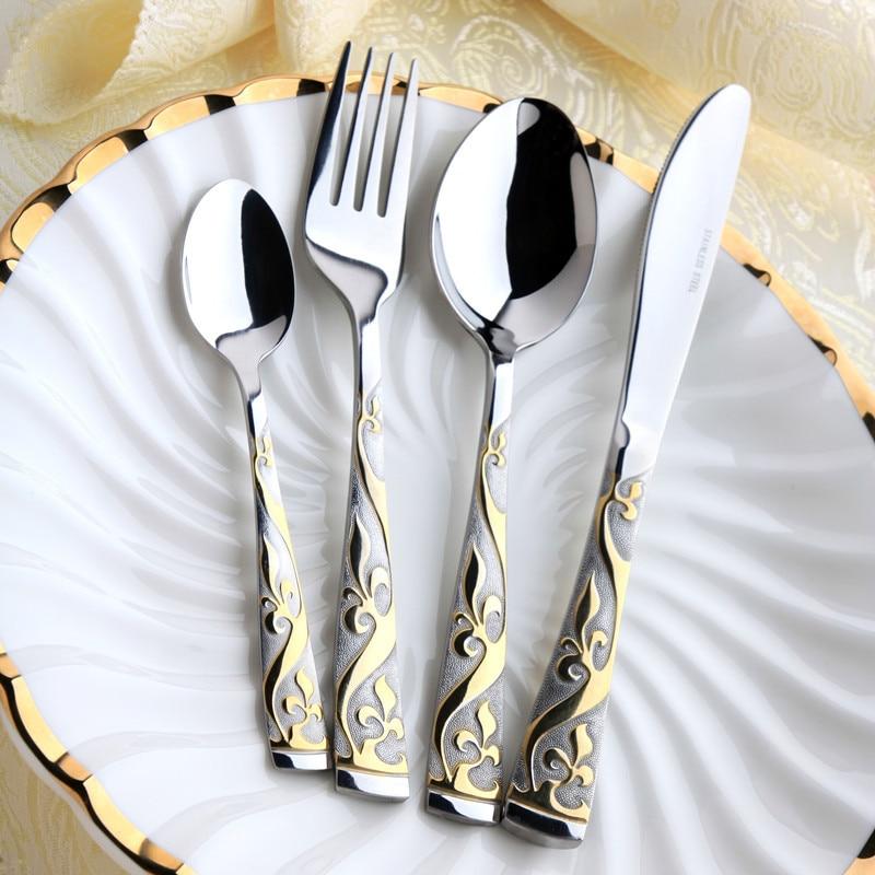 Conjunto de talheres banhados a ouro 24k luxuoso, 4 unidades, natal, aparelho de jantar, aço inoxidável, garfo, faca, faqueiros