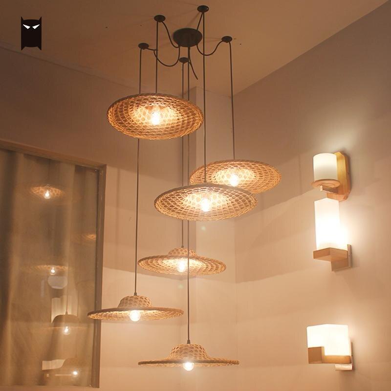 Bambú mimbre sombrero de mimbre sombra ajustable araña candelabro accesorio asiático Vintage rústico diseñador lámpara iluminación E27 restaurante