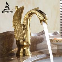 Robinet de lavabo plaqué or en forme de cygne   Mitigeurs de lavabo nouveau Design robinet hôtel luxe mitigeur en cuivre et or robinets chauds et froids 85535K