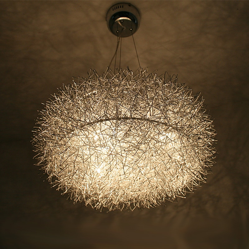 "20 ""alambre de aluminio nido comedor colgante luz vidrio huevo restaurante Estudio habitación lámpara vidrio Oval Bola 8 luces lámpara colgante"