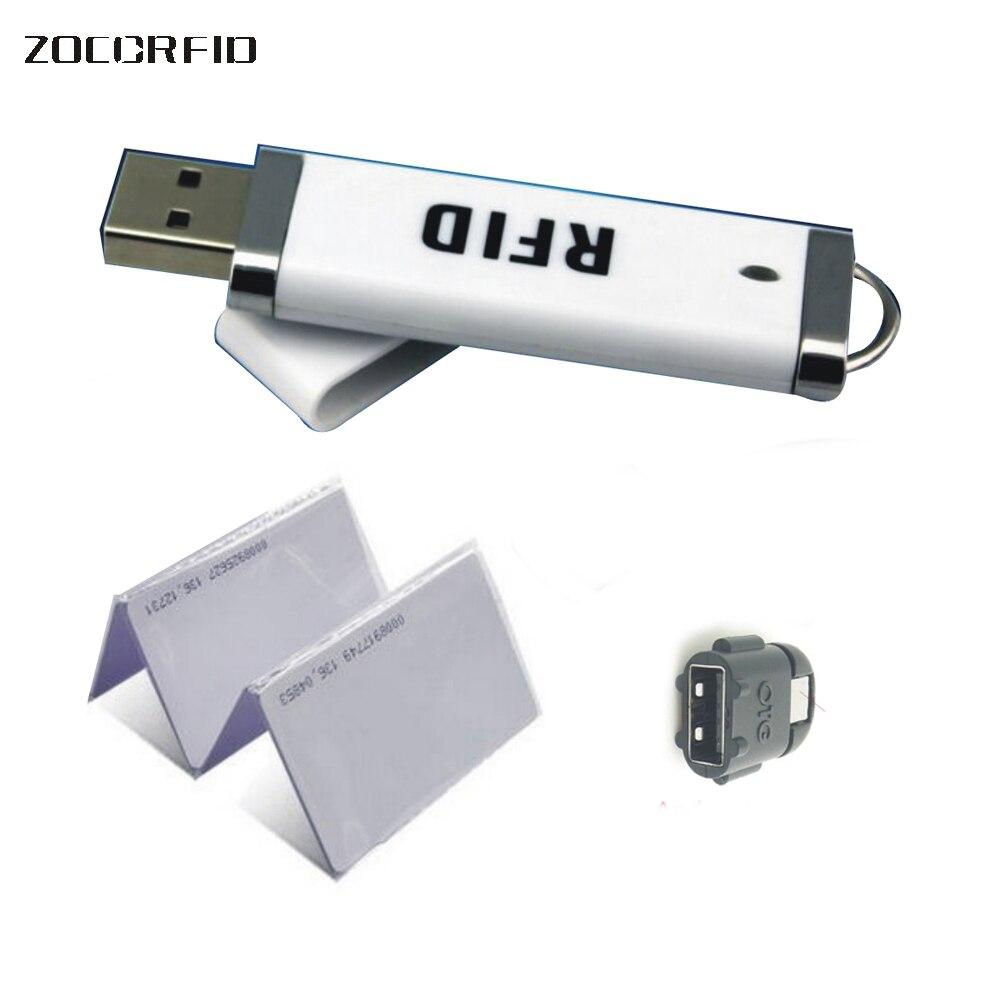 Micro mini leitor de RFID 125 KHZ ID leitor/USB Suporte Android/iphoneos/ipad/windows + 10 cartões