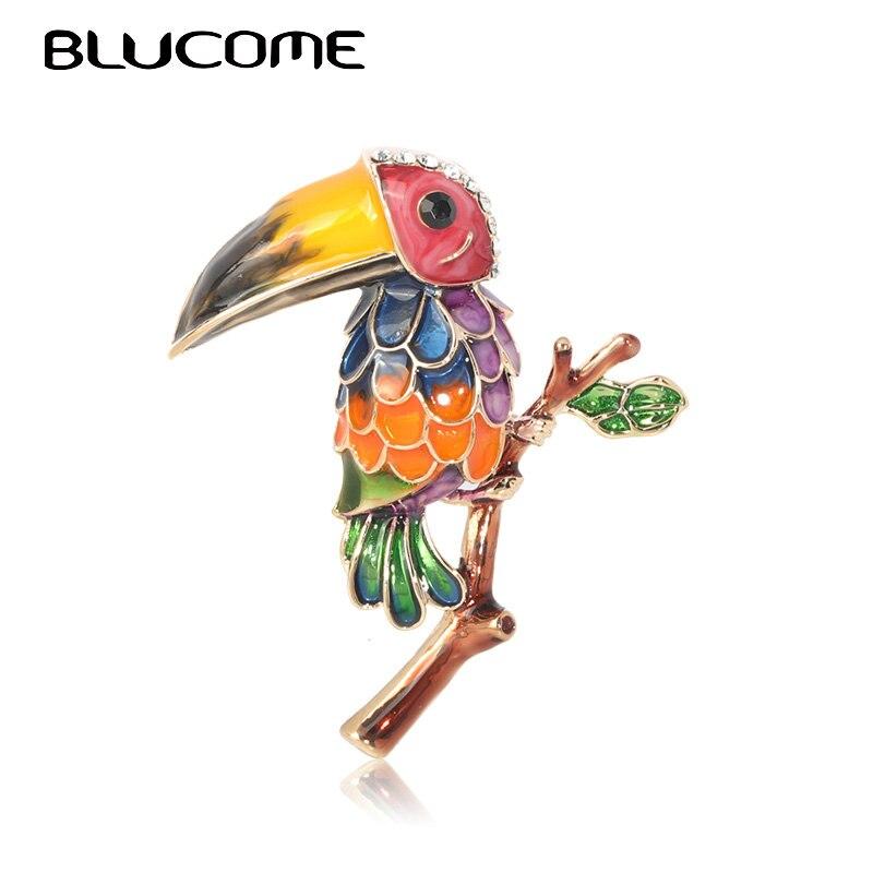 Broches de pájaro de tucán esmaltados coloridos Blucome, broches de diamantes de imitación de cristal para mujer, regalo de tendencia para niños, broche de pájaro PELÍCANO, broches, accesorio de joyería