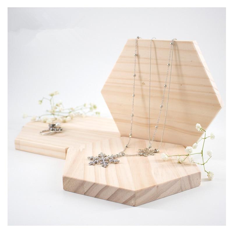 Solid Wood Jewelry Blocks Ring, Bracelets,Pendant Display Tray Jewelry Display Holder Hexagonal Wood Jewelry Plate