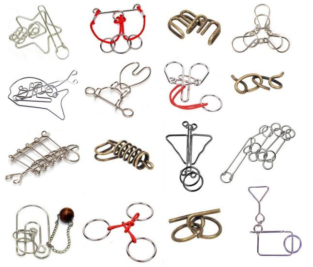 IQ Metal Wire Puzzle Magic Brain Teaser Rings Rope Puzzles Game for Adults Children