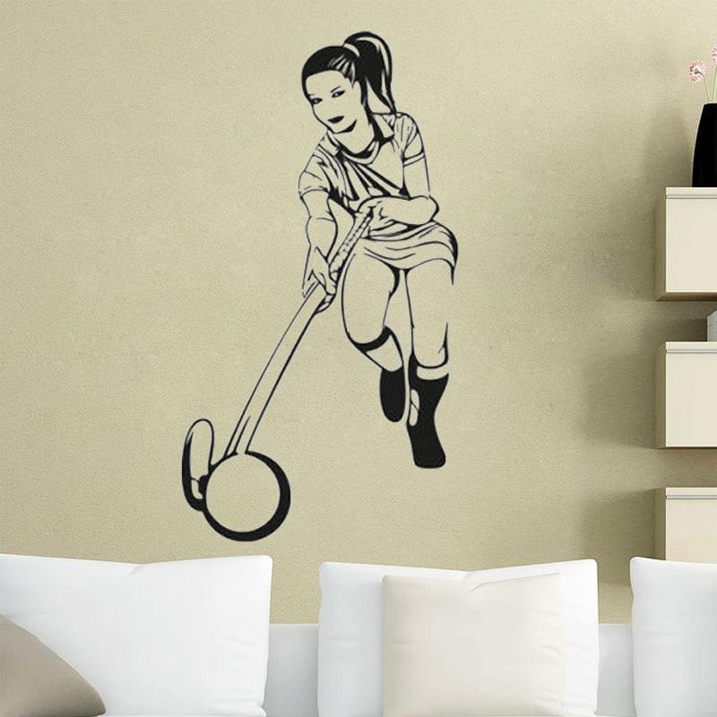 Menina jogador adesivos de parede de hóquei decalques oco para fora removível esporte arte murais sala estar quarto papel