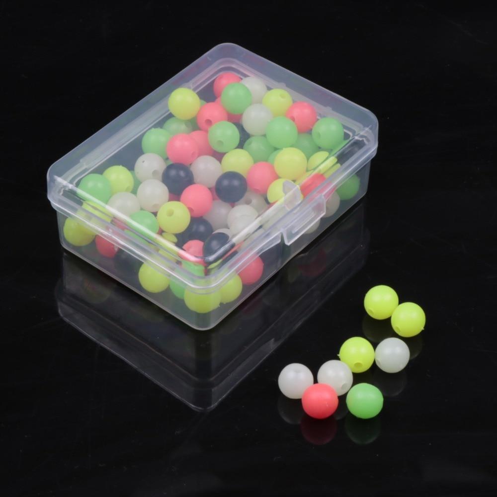100 unids/caja 6/8mm pesca flota cuentas luminoso de luz de plástico Bolas brillantes de cebo de pesca accesorios