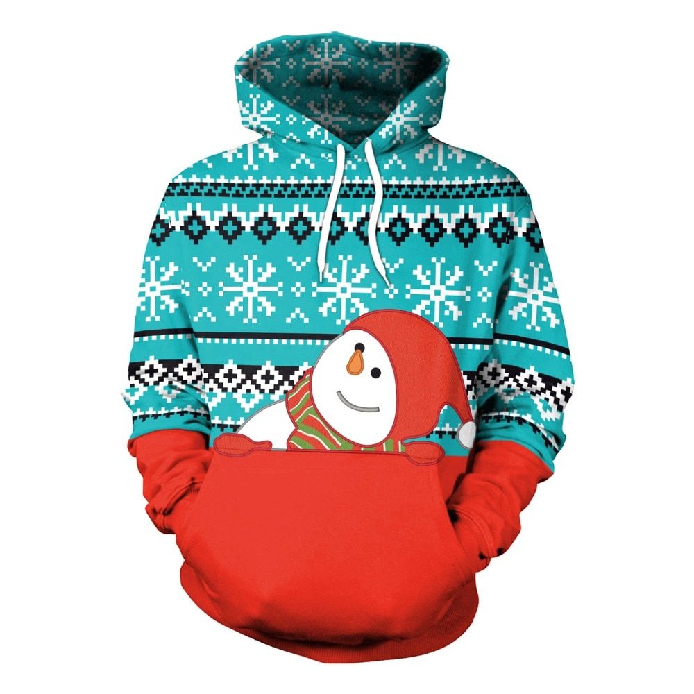 Best selling Christmas 3D digital printing snowman cute Halloween casual hooded sweater cosplay costume anime unisex
