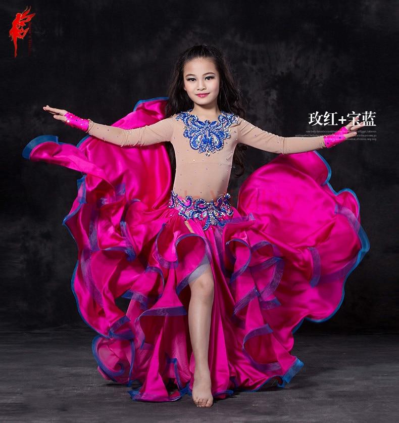 الفتيات أداء الرقص الشرقي دعوى الجلد طويلة الأكمام أعلى تنورة الساتان 2 قطعة بدلة الرقص الشرقي الطفل الرقص الشرقي دعوى راقصة مجموعة