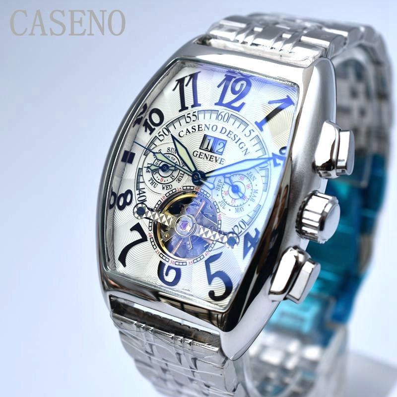 CASENO Tourbillon, relojes mecánicos automáticos de esqueleto para hombres, marca superior de lujo, reloj deportivo militar, relojes masculinos de acero inoxidable