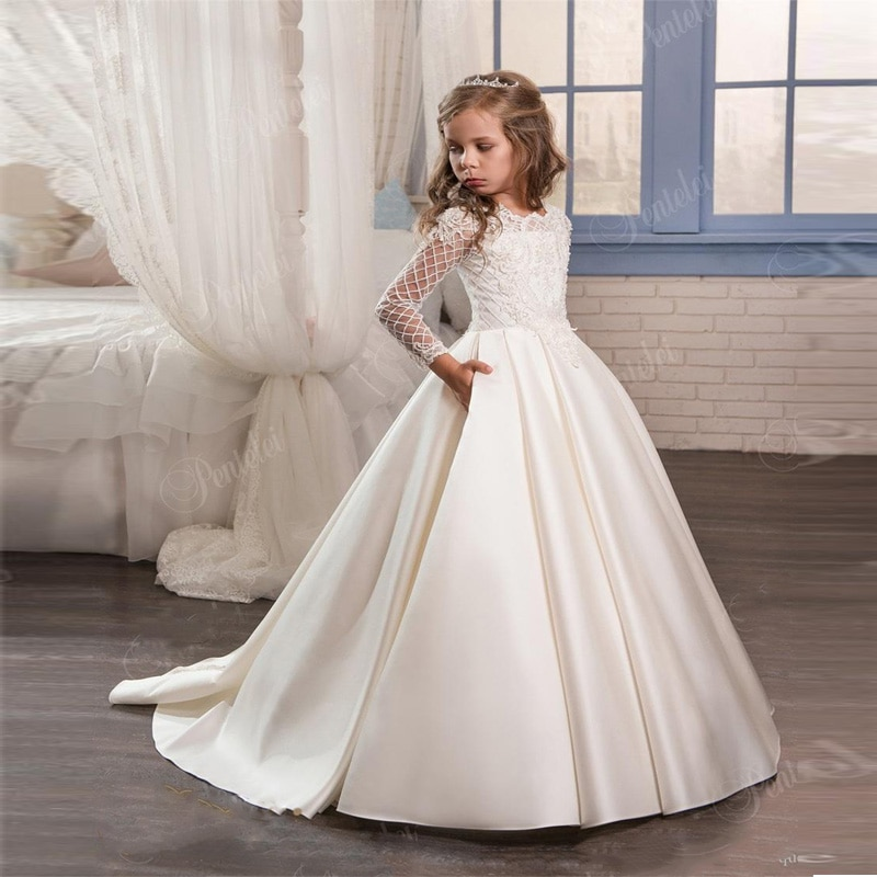 Pageant Dress Long Sleeves and Appliques Satin White Ivory Flower Girl Dresses For Wedding Custom Made New Arrival Hot enlarge