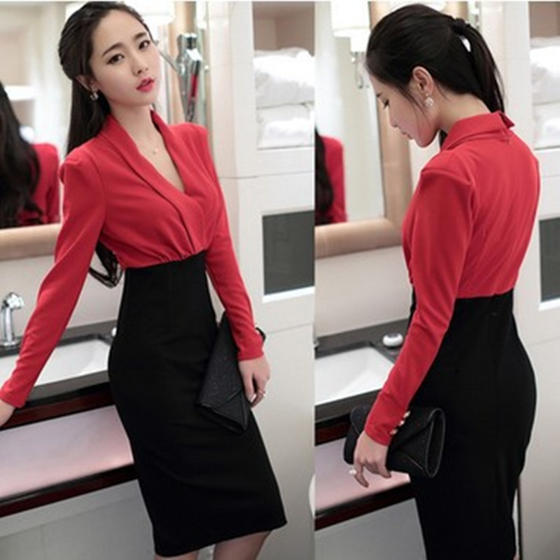 Vestido de Otoño de alta calidad para mujer, vestido rojo de Ropa de Trabajo con parches, Vestidos elegantes con cuello en V, vestido ajustado de negocios, Vestidos de fiesta