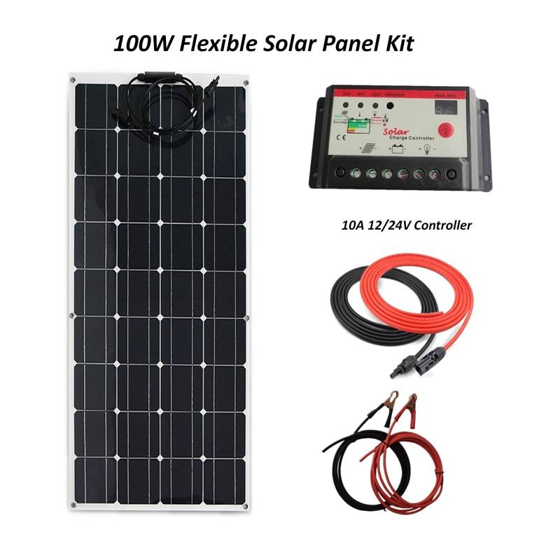 نظام الألواح الشمسية المرن ، 100 واط ، ألواح السيليكون أحادية البلورية ، 10A LED وحدة التحكم بالطاقة الشمسية وكابل