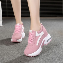 Women High Heels Spring Summer Fashion Mesh Casual Wedge Shoes Women Height Increasing Platform Shoes women sneakers white pink-
