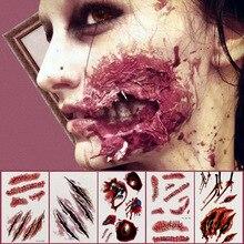 Halloween fête décoration Zombie cicatrices tatouages avec fausse gale sanglante maquillage Halloween accessoires plaie effrayant sang blessure autocollant, Q