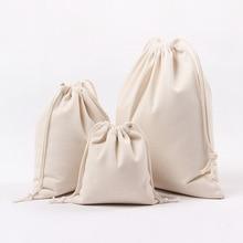 Reusable canvas Drawstring Shopping Bag Women Men Travel Shopper Tote Storage Bag