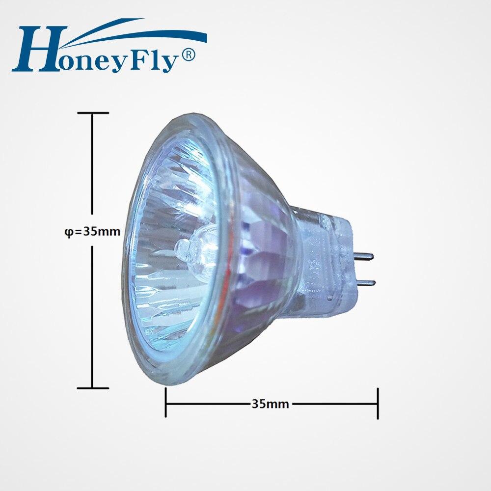 HoneyFly 10 pièces MR11 lampe halogène 12V 10 W/20 W blanc chaud ampoule halogène Gu4 Spot lumière clair couvercle en verre Dimmable intérieur