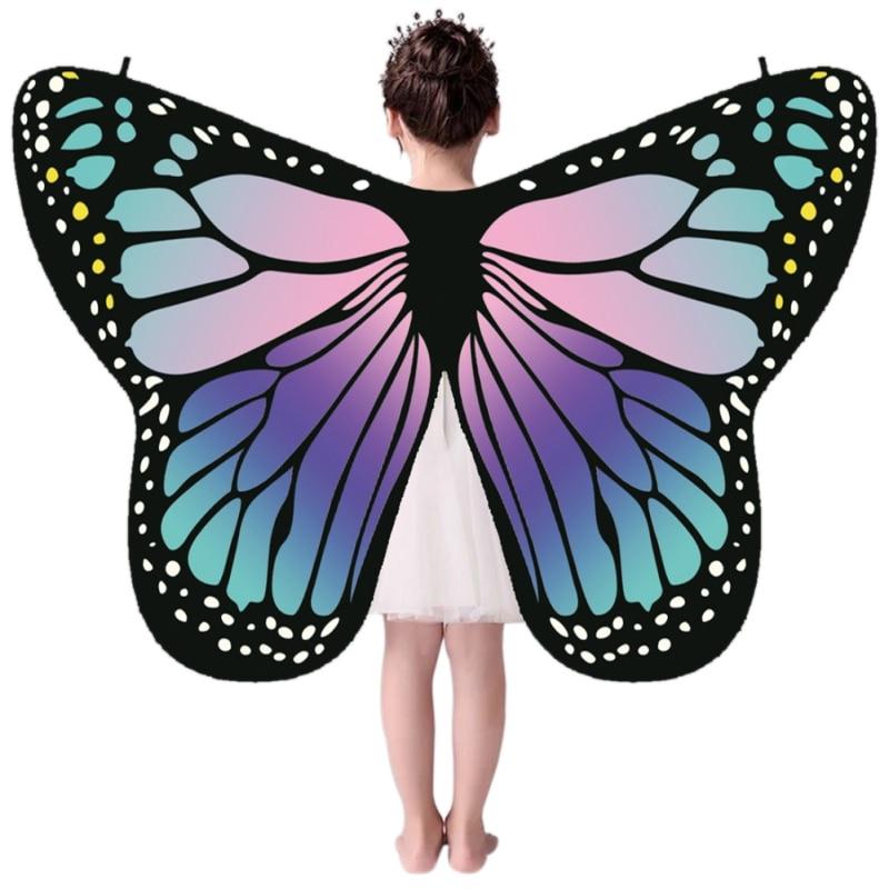 Детский разноцветный плащ-бабочка для девочек; шарф-накидка с изображением монарха; накидка-бабочка; украшение в виде крыльев; праздничные ...