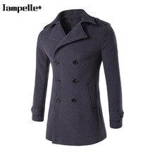 Зимняя мужская куртка, утепленное шерстяное пальто, приталенные куртки, модная верхняя одежда, Теплая мужская повседневная куртка, пальто, ...