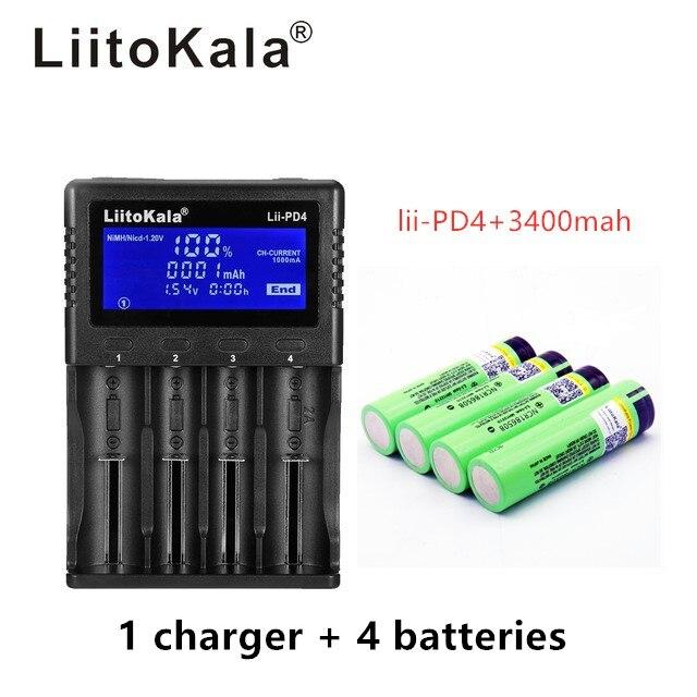 1 pcs LiitoKala lii-PD4 LCD 3.7 v 18650 21700 carregador de Bateria + INR18650 4 pcs 3.7 v 18650 3400 mah 34B Recarregável li-ion Batt