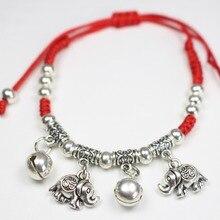 Mode Antique couleur argent mince fil rouge chaîne corde cheville éléphant bracelets Bracelet pieds nus sandale plage pied bijoux